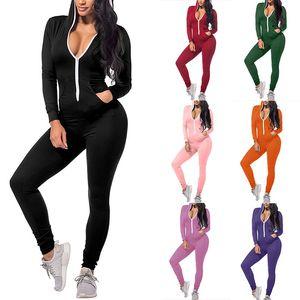 Mulheres Onesies Designer Sexy Slim Cor Sólida Com Zíper Capuz Jumpsuits Queda Nova Nova Moda Nova Moda One-Peça Senhoras Senhoras Macacões