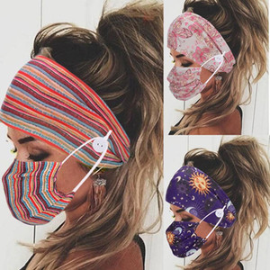Print Elastic Hair Bands for Women Headband Yoga Sport Hair Band Button Design for Face Mask Wearing Accessories Gilrs