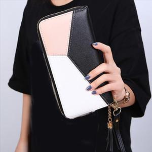 Frauen Brieftasche Weibliche Kontrastfarbe Nähte Armband Brieftasche Reißverschluss Brieftasche Clutch Tasche Geldbörse Karten Halter Telefon Geld Handtasche