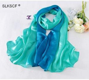 [SLKSCF] 185x65cm Classic Gradient Color Color Soie Satin Satin Écharpes Soie Plain Soie Écharpe Châle Real Hijabs Gradual 100%