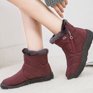 Hot Sale Women Boots Ankle Waterproof Snow Boots For Winter Shoes Women Casual Zip boots Ladies Flats Short Botas Mujer Plus size 11