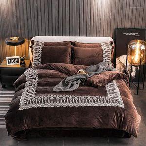 Luxury Brown Blue Gray Winter Thick Velvet Flannel Fleece Bedding set Soft Short plush Lace Duvet cover Bed Sheet Pillowcases1