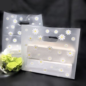 100pcs 18*25*10cm Lovely Floral Gift Thicken Carry Bag Shopping Cute White Flower Plastic Bags