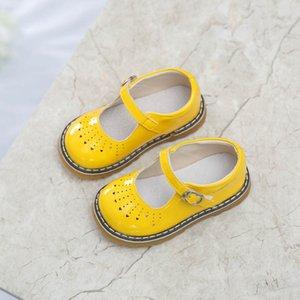 Baby Girls Обувь Мэри Джейн Детская Кожаная Обувь Белый Черный Школьник Обувь Розовый Повседневная Обувь Желтый Сердце Вырезает Sandq New Y201028