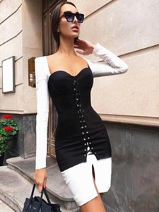 2021 New Winter Christimas Women Black & White Long Sleeve Bodycon Dress Party Dresses