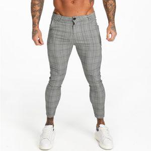 Gingto Mens Chinos Slim Fit Erkekler Sıska Chino Pantolon Gri Ayak Bileği Uzunluğu Süper Streç 2019 Rahat Pantolon Tasarımcı Ekose ZM356 T200102