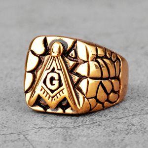 Retro Freemason Illuminati Masonic Stainless Steel Mens Rings Punk Hip Hop for Male Boyfriend Jewelry Creativity Gift Wholesale