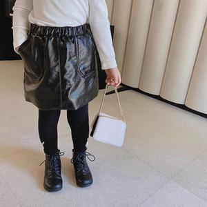 도매 국도 최신 봄 가을 여자 PU 스커트 아기 스커트 키즈 스커트 어린이 바닥 패션 가짜 가죽 양털 PU 스커트