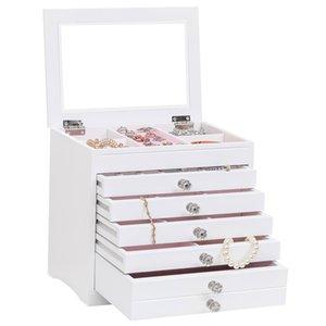 6 gavetas 7 camadas caixa de armazenamento de jóias caixa de exposição de jóias casa vestindo mesa de acabamento de armazenamento branco branco