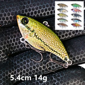 1pc 10 Color Mixed 5.4 cm 14 g 3D Eyes VIB Fishing Hooks 8# Hook Hard Baits & Lures Pesca Fishing Tackle LUO_033