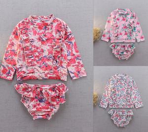 아기 소녀 수영복 2 조각 UV 태양 보호 꽃 인쇄 셔츠 + 간단한 수영복 슈트 3 색