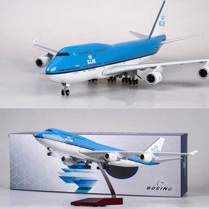 1 157 Scale 47CM Airplane Boeing 747 B747 KLM Royal Dutch Airlines Model W Light & Wheel Diecast Resin Plane For Collection LJ200930