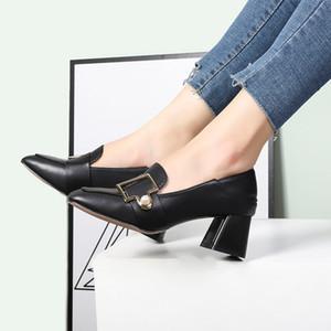 2021 весенняя мода новая жемчужная декоративная кнопка повседневная высокая каблука мокасины коренастые каблуки мода женская двойная обувь