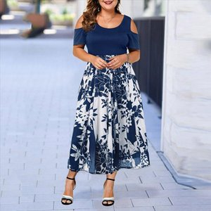 2019 New summer dress Women Dress Plus Size robe femme O Neck Print Stitching Off Shoulder Short Sleeve Dresses Vestido ED