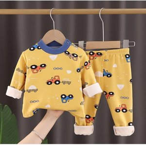 Children's thermal underwear set plus velvet padded autumn clothes cartoon printed strawberry car cat long trousers boys and girls pajamas