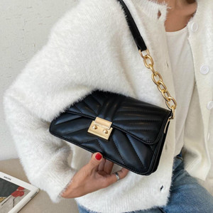Designer-Fashion Crocodile Pattern Baguette bags MINI PU Leather Shoulder Bags For Women 2020 Chain Design Luxury Hand Bag Female Travel