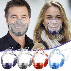 PC Transparent Mask Lenguaje de labios para mudo sordo con válvula de aliento Aislamiento a prueba de salpicaduras Cubierta de boca clara Máscaras protectoras al aire libre LJJP804