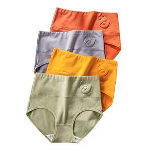 ZJX 4Pcs High Waist Panties Women Cotton Shaperwear Underwear Fashion Ladies Seamless Briefs Sexy Comfort Female Lingerie XXL Y1121