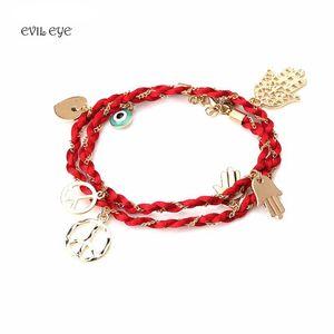 1pc Fashion evil eye tassel charm bracelet braided rope metal chain love gesture bracelet jewelry for women
