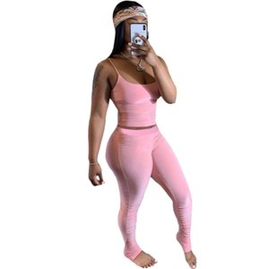 Tracksuit Women Sportwear Summer Two Piece Set Crop Top and Pants Stacked Leggings Set Jogging Femme 2 Piece Sets Womens Outfits 201104