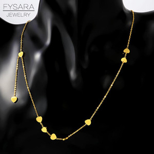 Fysafa Cute Hearts Pendant Necklace Stainless Steel Party Statement Choker Love Short Necklace For Women Couple Gift sqcGZw