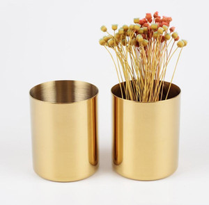400ml Nordic style brass gold vase Stainless Steel Cylinder Pen Holder for Stand Multi Use Pencil Pot Holder Cup contain DHF4616