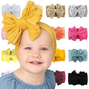 Children Hair Accessories Big BowKnot Lace Headband for Baby Girl Soft Nylon Elastic wide Headband Headdress Vintage Kids Headwear M3161