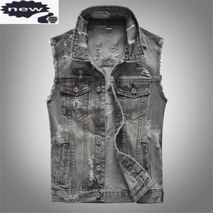 Spring Autumn Mens Hole Ripped Denim Vest Slim Fit Sleeveless Cowboy Jacket Plus Size 5XL Grey Male Vests Tops Outwear Waistcoat