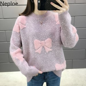 Neploe O Neck Autumn Winter Korean Loose Thicked Sweater Elegant Patchwork Bow Bottom Pullover Pull Femme Knit Jersey Mujer 201123