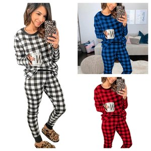 Women Pajamas Slim Simple Classic Plaid Home Wear Autumn Winter Long-sleeved Tops Pullover Trousers Two Pieces Outfits clothing E112304
