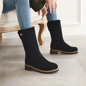 Donne Moda Stivali da neve Stivali da donna Med Tacco Scarpe di buona qualità Round Toe 2 Colore Nuovo stile Mid Calf Boots Square Heel Women1