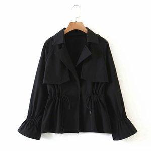 Popular women's new versatile short drawstring slim windbreaker, lovely and practical high-quality fabric fashion windbreaker jacket