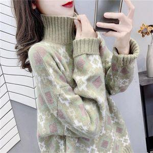 High collar sweater women's Korean version thickened fall   winter 2020 new retro fashion winter top knitted bottom coat