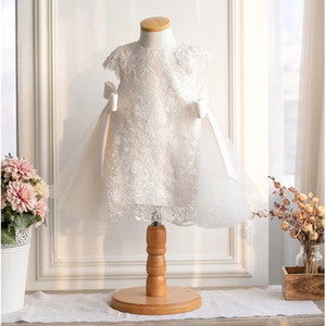 Vintage Full Lace Baby Girls Dresses Birthday Wedding Princess Party Kids Dresses For Girls Lace Baby Baptism Christening Ball Gown