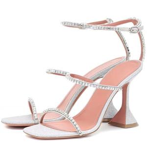 Hot Sale-2021 Summer Hot Sandal Shoe Strange Cup Heel 3 Rhinestone Strap Sandal Spike-heels Party Women Shoe Wedding Shoes