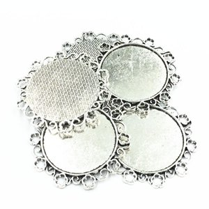 5Pcs Necklace Pendant Silver Tone Flower Lace Metal Setting Jewelry Cabochon Cameo Base Tray Bezel Blank Fit 34mm Cabochons 49mm