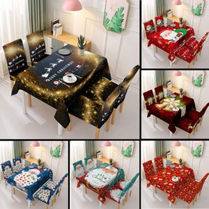 Rectangular 3D Christmas Tablecloth and Chair Cover Set Cotton Table Cloth Cover Kitchen Dining Table Santa Claus New Year Decor F1214
