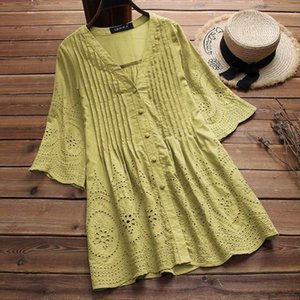 Stylish Womens Linen Blouse Elegant Embroidery Hollow Blusas Female V Neck Button Shirts 2020 Summer Tunic Tops Plus Size 5XL