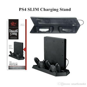 플레이 스테이션 용 냉각 팬이있는 PS4 슬림 PS4 용 세로 스탠드 4 / 슬림 콘솔 듀얼 컨트롤러 충전 스테이션 3 허브 포트