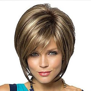 wholesale Short Bob Wigs For Women Short Hair Brown Wigs With Bangs Natural Looking Heat Resistant Synthetic Fiber Fashion Wigs For Daily