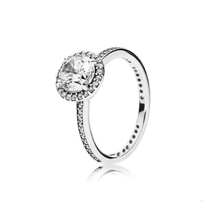 Real 925 Sterling Silver CZ Diamond RING with Original box set Fit Pandora style Wedding Ring Engagement Jewelry for Women free shipping