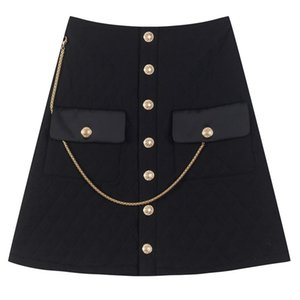 High End Female Chess Quilted Cotton Aline Luxury Buttons Waist Autumn Femme Chain Pockets Casual Skirt 2s2l