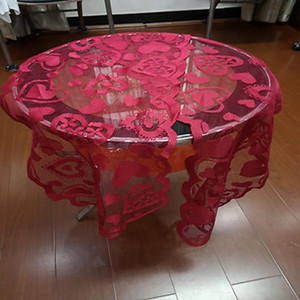 Lace Fabric Tablecloth Red Valentines Love Table Banner Day Poinsettia Heart-shaped Lace Table Runners Party Wedding Decoration