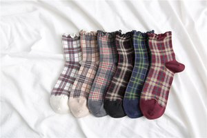 Four Seasons Ladies Socks British Plaid Retro Women Socks Literature and Art Celebrity Style Ladies College Style