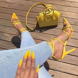 Talons hauts sandales femmes sexy sandales jaunes dames poisson bouche croix stilettos pointe pointe pointe 11.5cm talons cd