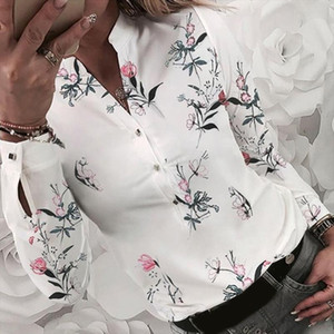 Womens Shirts Floral Blouse Long Sleeve Shirts Women Camisas Femininas Printing Button Womens For Spring Tops Blouse