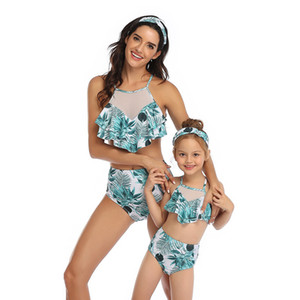 Wholesale Parent-child Swimwear One-shoulder vest to cover belly slimming Bikini Vest Style High Waist Mesh Adult Children Swimwear