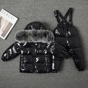 Kids Big Fox Fur Collar Snowsuit White Duck Down Children Skiing Suits Down Jacket+Jumpsuits Baby Girls Winter Coat Outwear Y1117