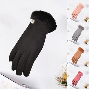 Full Finger Gloves Winter Women Suede Gloves Warm Plush Winter Women With Touch Screen Mittens Streetwear