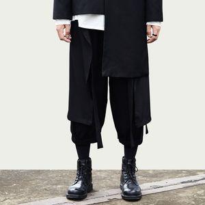 Iidossan Wild Crotch Harem Black Pants Men Fashion Spring Baggy Pure Cotton Overalls Oversize Japanese Streetwear Harajuku Y201123
